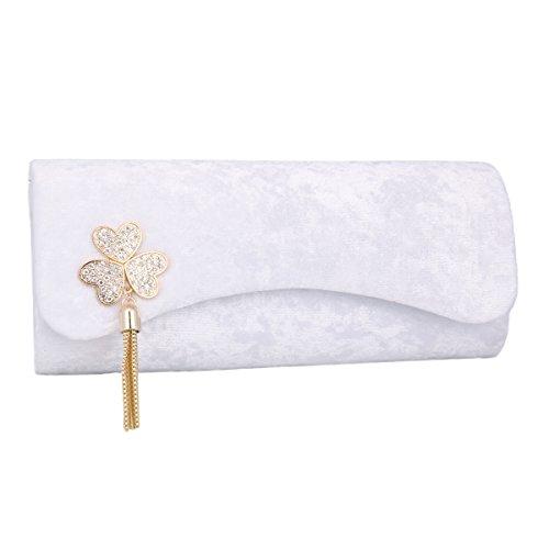 Damara® Distinguiert Damen Partys Dekoration Abendtasche Mit Flanell Weiß