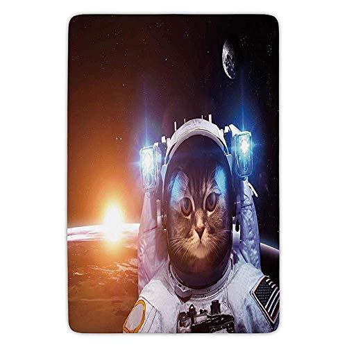 XIAOYI Bathroom Bath Rug Kitchen Floor Mat Carpet,Space Cat,Kitten in Space Suit Sun Lunar Eclipse Over Planet Stars Image,White Orange and Dark Blue,Flannel Microfiber Non-Slip Soft Absorbent