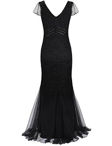 Kayamiya Damen 1920er Maxi Lange Meerjungfrau Formelle Gatsby Flapper Abendkleid Schwarz mit Hülse
