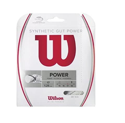 Wilson Synthetic Gut Power 40-Feet Tennis String Set, White, 16 by Wilson