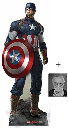 Captain America (Chris Evans) Avengers Age of Ultron Marvel Lebensgrosse Pappaufsteller mit 25cm x 20cm foto (Cut-out Captain America)