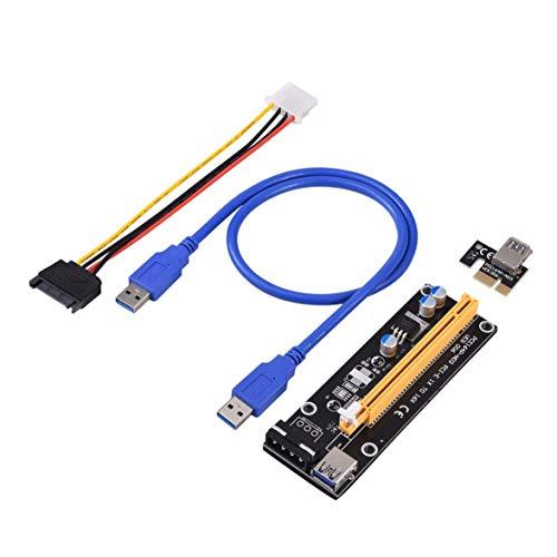 Kongqiabona PCI-Express PCI-E 16X Extender Riser Carte USB 3.0 SATA 15P-4Pin Ranuras de Adaptador con Hebilla de Tarjeta Fija Portátil