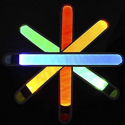 4LED Armbinden, & #-; VdS LED Sport Wasser/Schweiß beständig Slap Sportarmband, hoch reflektierenden Druck & #-; Fahrrad oder zu Fuß bei Night Glow Armband
