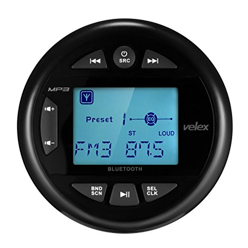velex Wasserdicht mit Multimedia-Player, Audio-Empfänger, Streaming, 2,4-Zoll mit Display (Black) Marine Head Units Marine