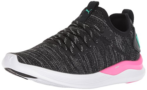 PUMA Women s Ignite Flash Evoknit Sneaker Black-Knockout Pink-Biscay Green  8 5 M US