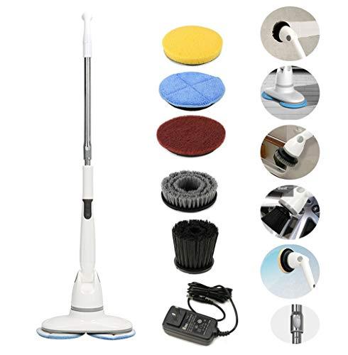 HLDUYIN Elektrischer Wäscher, kabelloser, wiederaufladbarer Poliermop, Mehrzweckfliese für den Heimgebrauch, Boden, Küche, Decke, Badewanne, Langer Griffreiniger,White