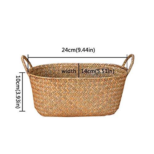 GDRAVEN Aufbewahrungskörbe aus Seegras, Gewebter Aufbewahrungskorb mit Griff, Square Wicker Shelf Basket | für Pflanze Blumentöpfe Picknick Beach Bag Home Decor, Handgeflochtenem (S)