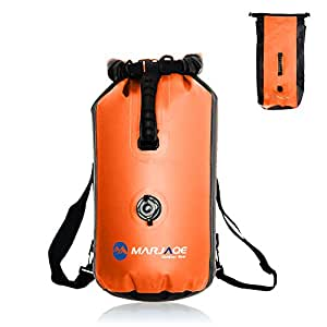 WildGrow Roll Top Closure Dry Bag Sack 30L with Ajustable Double Shoulder Straps, Hand Lifting Handle, Inflation Valve for Boating Kayaking Fishing Canoeing Rafting Swimming (Orange)