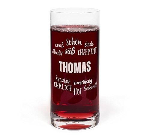 PrintPlanet® Glas mit Namen Thomas graviert - Leonardo® Trinkglas mit Gravur - Design Positive Eigenschaften