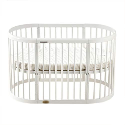 lit bébé Lit rond d'épissage de bois de style européen multifonctionnel de lit de bébé (Couleur : Blanc)