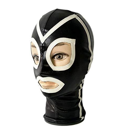 Schöpfer Kostüm - V Schwarze Mütze Tau Mund/Auge Klebe Lustige Kopfbedeckungen Fetischmaske Glänzende Augen Und Offener Mund Elastizität Halloween Kostüme