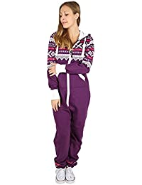 f04b71a11c2 Parsa Fashions ® Womens Ladies Aztec Print Hooded Zip Up Onesie Jumpsuit  Plus Sizes S-