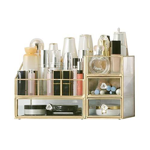 KJRJSN Clear Cosmetic Storage Organizer - Organisieren Sie ganz einfach Kosmetik, Schmuck und Haarschmuck.Sieht elegant aus, wenn Sie auf Ihrem Waschtisch, Ihrer Badezimmertheke oder Ihrer Kommode sit