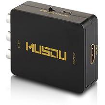 Musou 3 RCA CVBS Composito AV a HDMI Convertitore / Adattatore, PAL / NTSC Commutazione, Supporto Full HD 1080P, Nero