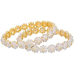 M Creation Gold Plated Cz Bangle Set For Women And Girls (Size: 2.6, C-920--2.6)