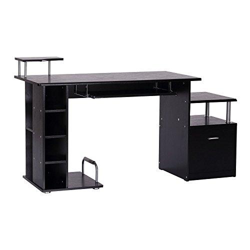 Freistehende Arbeitstisch (HOMCOM Computertisch Schreibtisch Bürotisch Arbeitstisch Kombitisch PC-Tisch)