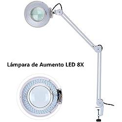 Lámpara con Lupa, 8X Lupa 220V LED Altura Ajustable para el Tatuaje, la Belleza médica, la manicura, Blanco (con Abrazadera)