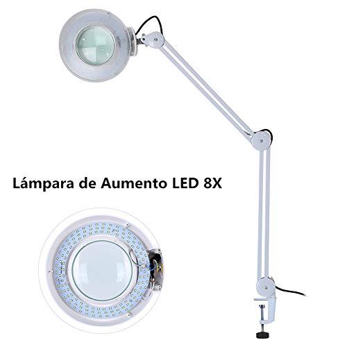 Lámpara Lupa, 8X Lupa 220V LED Altura Ajustable Tatuaje