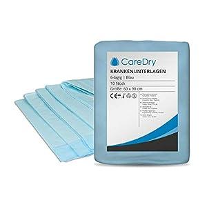 CareDry Krankenunterlagen 60×90 cm Zellstoff 6-lagig | 100 Stück | Einmalunterlagen | Inkontinenzunterlagen | Patientenunterlagen | Wickelunterlagen | Tierunterlagen | Ideal bei Inkontinenz
