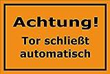 Melis Folienwerkstatt Schild - Tor schließt automatisch - 15x10cm | Bohrlöcher | 3mm Hartschaum – S00076-E - 20 Varianten