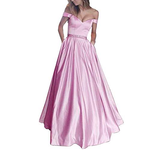 Damen Retro Brautjungfern feiXIANG Schulterfrei ärmellose Feste langes Kleid Party Einfarbig Prinzessin Rock Frauen Abendmode Ballkleid (Rosa,XXXL) - Chiffon Red Heels