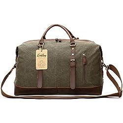 Gran bolso de mano viajero de lona y cuero para fines de semana con correa para el hombroEverVanz