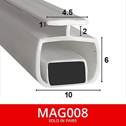 magnetisch Dusche Dichtungen für Kanäle | aus zwei | weicher flexibler faltbar, weiß Gummi T mit Magnet | passt in 4oder 5mm Kanal | 2Meter lang | mag008 - Kühlschrank Mit 2 Schiebetüren