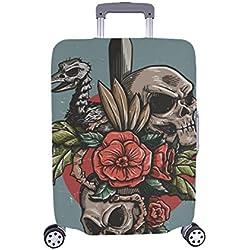 Calaveras y rosas rojas, funda protectora Spandex para maleta de viaje, 28.5 x 20.5 pulgadas