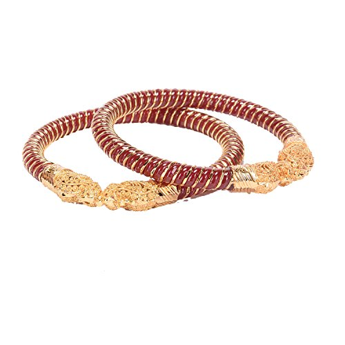 Manikya Maroon Copper Gold Plated Bangle Set For Women