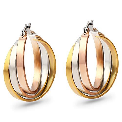 Dreifach miteinander verbundene Ohrringe aus Titanstahl in Silber/Rotgold und Gelbgold