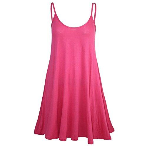 Damen Schwingenkleid Plain Strappy Viskose Cami Fuchsie