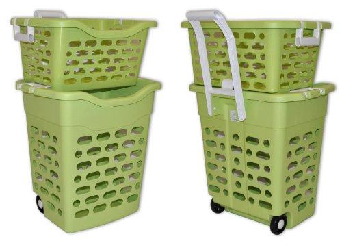 fahrbarer Wäschekorb (grün)