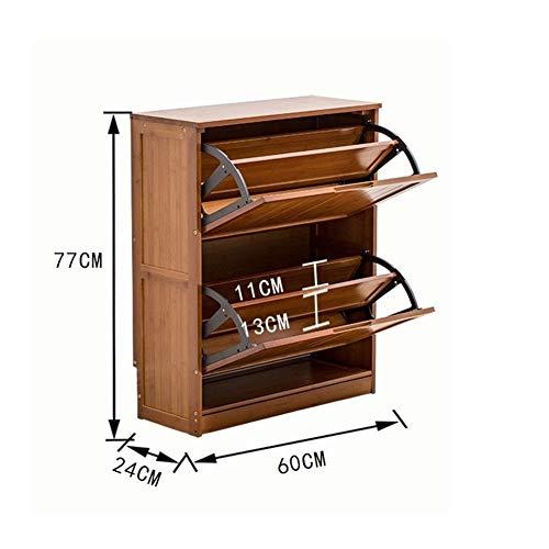 PNYGJXJ Massivholz Schuhregal Kipp-Eimer Lagerregal Multifunktions Schuhschrank für Flur Eingangsbereich Bad Ständer (Size : Double layer-30.3 * 9.4 * 23.6 inch)