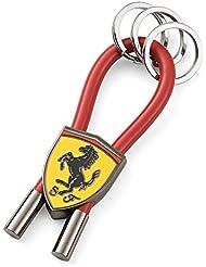 Ferrari Red Shield Rubber Strap Keychain with Metal Scudetto by Ferrari