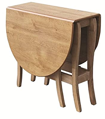 Mood Furniture HEATPROOF Oval Gateleg Gate Leg Drop Leaf Table in Warm Oak - Made in Ireland - Folding Table for Small Spaces - Solid Wood Frame - Tufftop Heat Resistant Surface - Dining or Kitchen Table Built to Last - 32x79X76Hcm Closed 117x79X76Hcm Ope