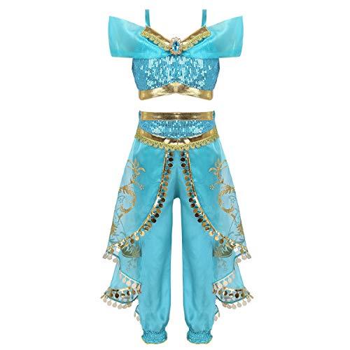 MSemis Déguisement de Princesse Jasmine Enfant Fille Halloween Tenue Ensemble Tulle Pantalon + Haut Paillette Brillant Fille Costume de Danse Carnaval Fête 3-10 Ans Bleu Lac 7-8Ans