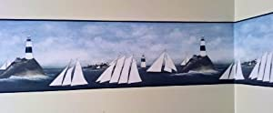 Lighthouse and Sailboats Primitive Wallpaper Border by Rolling-Borders from Rolling-Borders