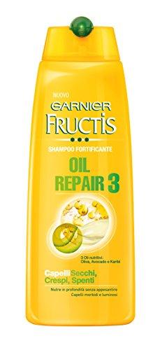Garnier Fructis Oil Repair 3 Shampoo Fortificante per Capelli Secchi Crespi o Spenti, 300 ml
