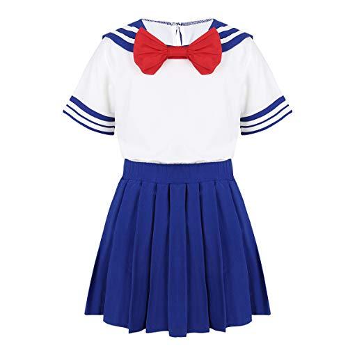 iixpin Kleinkinder Kurzarm Schuluniform Top + Rock Sailor Uniform Kleidung Mädchen Cosplay Verkleidung Sommer Urlaub Kleider Gr.98-128 Blau 116-122 (Kleinkind Mädchen Sailor Kostüm)