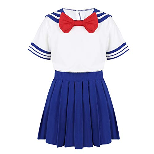Kostüm Mini Kurzarm - YiZYiF 2Pcs Mädchen Matrose Kostüm Kurzarm T-Shirt mit Streife Fliege und Mini Faltenrock Japan Schulmädchen Uniform Cosplay Kostüm Blau 104-110