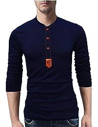 Seven Rocks Henley Neck Cotton T-Shirt for Men