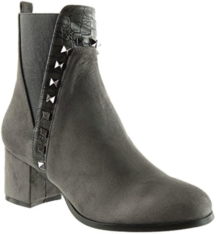 Angkorly - Zapatillas de Moda Botines chelsea boots cavalier mujer piel de serpiente tachonado Talón Tacón ancho...