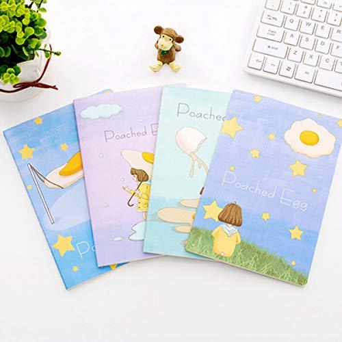 YPGFL Notizbuch Notizbuch Der Netten Karikatur 4Pcs / Set A5 Einfaches Art Und Weise Übungsbuch Kursteilnehmertagebuch Kawaii Schulbedarf, Hebaodan Nvhai