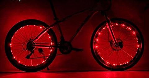 Fahrrad-Rad beleuchtet, Camac Wasserdichtes Radlichter, 2 Modi Radfahren Rad-Gummireifen-Lichter Steel Wire Rand 20 LED-Blitzlicht, Batteriebetriebene,