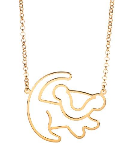 Disney Couture Classic chapados en oro de rey León Simba esquema collar