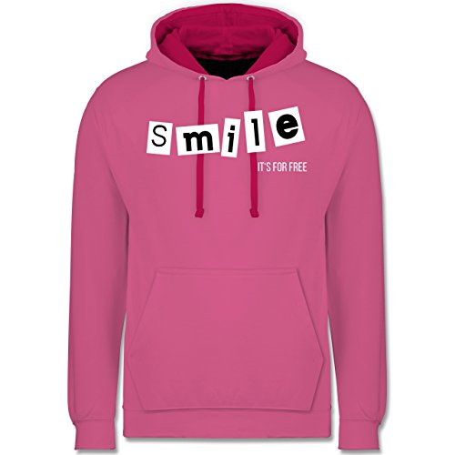 Statement Shirts - Smile it's for free - Kontrast Hoodie Rosa/Fuchsia