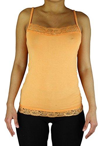 Damen Tank Top Long Top Shirt mit Spitze und Spaghettiträgern in orange | Einheitsgröße 36 - 42 (Top Alex)