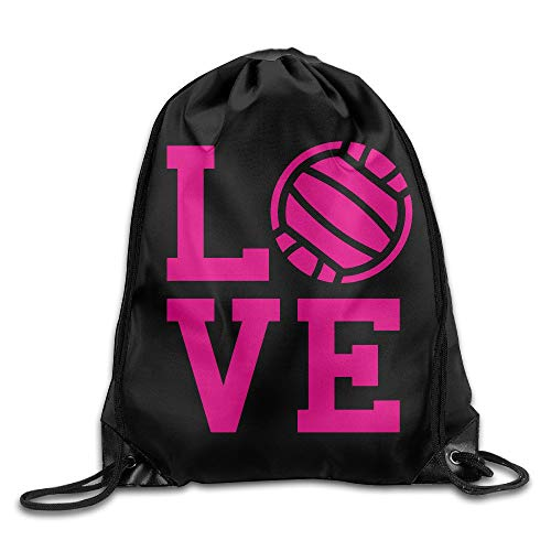 Jeroty Love Volleyball Gym Drawstring Backpack Bag