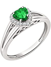 Silvernshine 7mm Heart Cut Emerald & Sim Diamond Halo Engagement Ring In 14K White Gold Plated