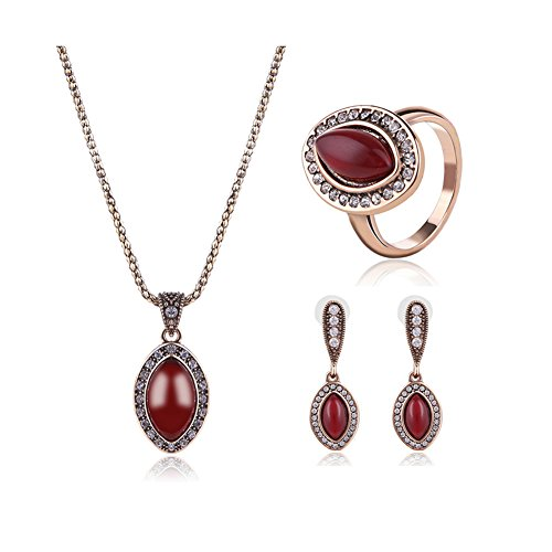 deschmuck Vintage Classic Pandent Collar Pendientes Conjunto de joyas regalos para las mujeres de cadena de oro brillantes, color rojo